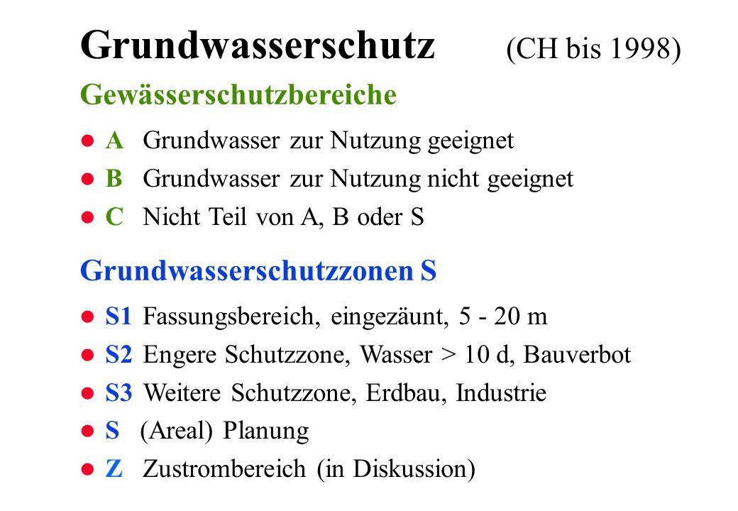 Grundwasserschutz (CH bis 1998) l S1 Fassungsbereich, eingezäunt, 5 - 20 m l S2 Engere Schutzzone, Wasser > 10 d, Bauverbot l S3 Weitere Schutzzone, E
