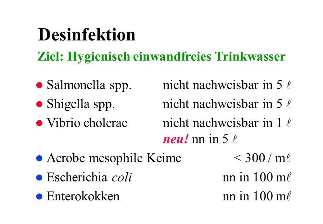 Desinfektion Salmonella spp. nicht nachweisbar in 5 Shigella spp. nicht nachweisbar in 5 Vibrio cholerae nicht nachweisbar in 1 neu! nn in 5 Aerobe me