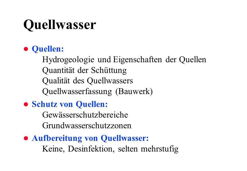 Qualität einer Quelle l Variation der Schüttung Q max / Q min 50Schlecht l Variation der Wasserqualität Temperatur (Jahresmittel, Amplitude) Trübung (nach Regenereignissen) Inhaltstoffe (Keime, Nitrat, Ammonium,...)