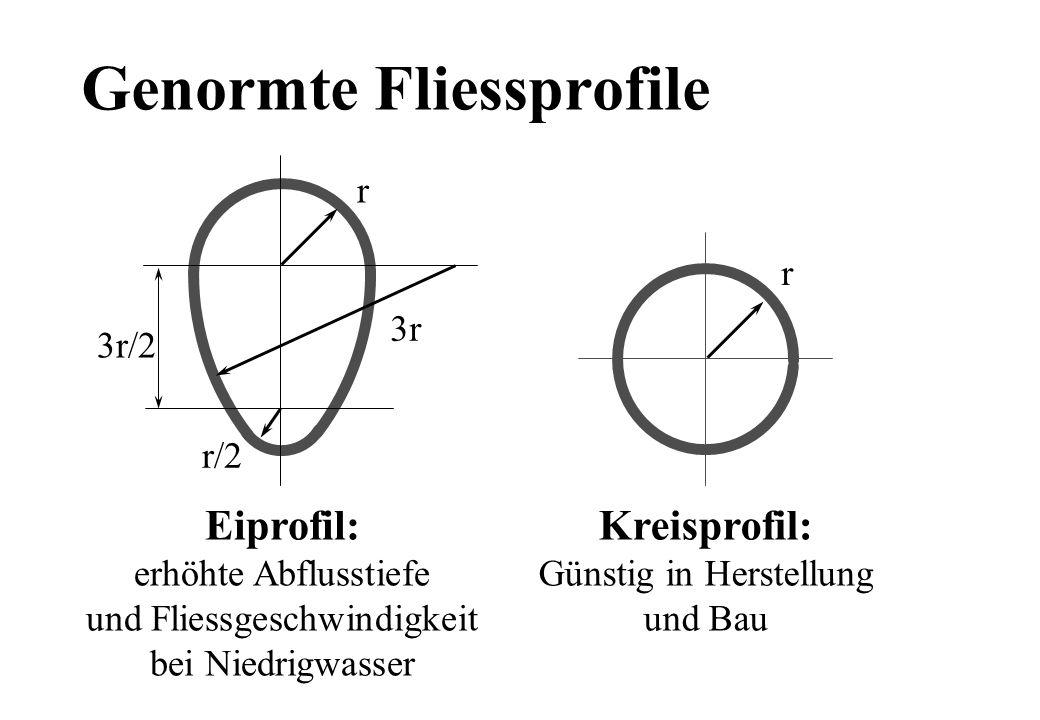 Genormte Fliessprofile r/2 r 3r 3r/2 r Eiprofil: erhöhte Abflusstiefe und Fliessgeschwindigkeit bei Niedrigwasser Kreisprofil: Günstig in Herstellung