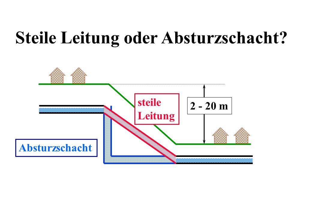Steile Leitung oder Absturzschacht? 2 - 20 m Absturzschacht steile Leitung