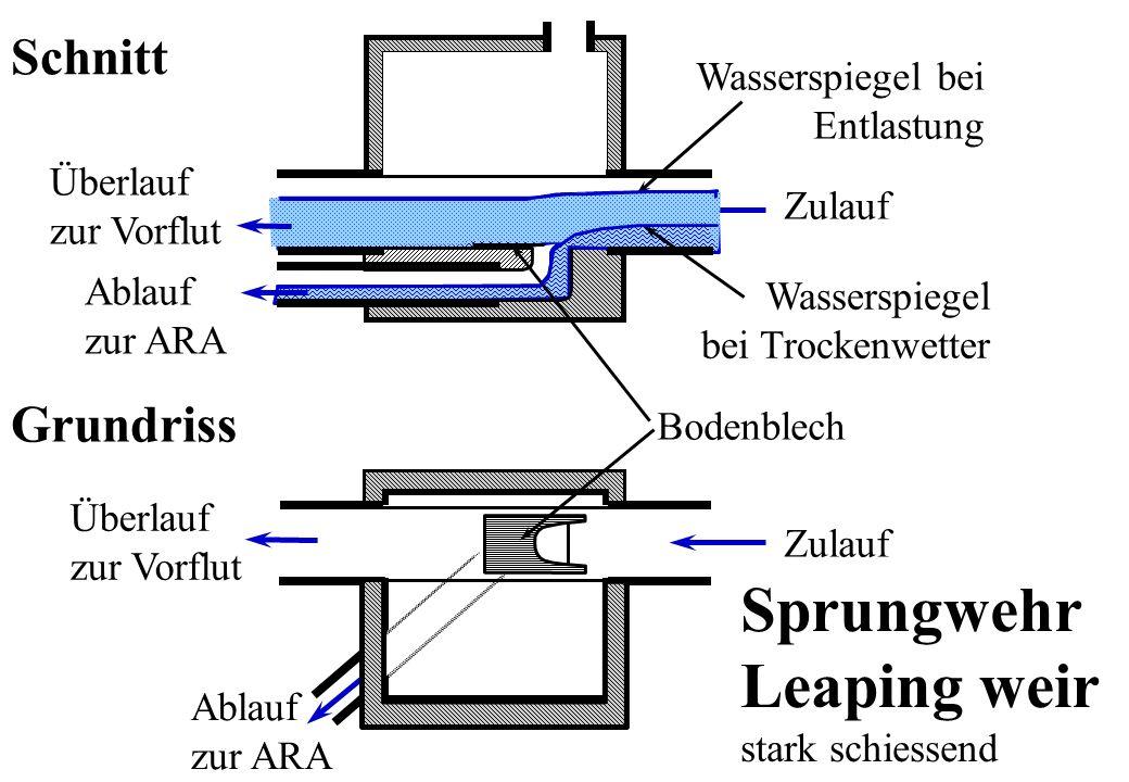 Ablauf zur ARA Überlauf zur Vorflut Zulauf Wasserspiegel bei Trockenwetter Wasserspiegel bei Entlastung Überlauf zur Vorflut Ablauf zur ARA Zulauf Bod
