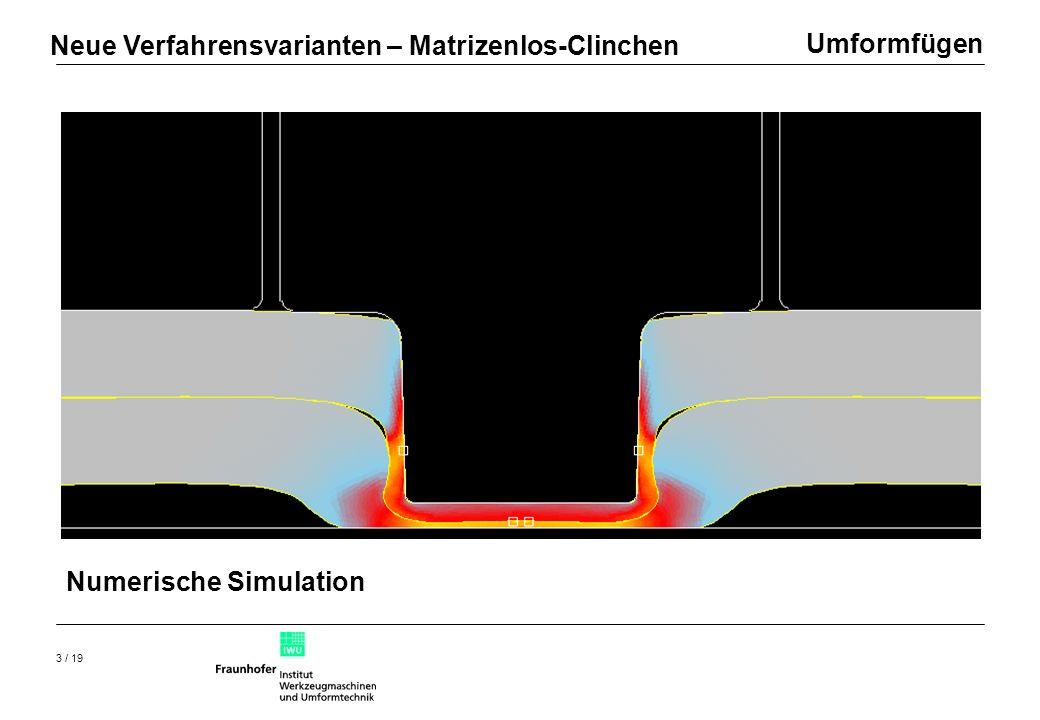 Umformfügen 4 / 19 Paarung DC04, s=1 mm + AlMg4.5Mn, 1.5 mm Fügekraft F=45 kN Hinterschnitt HS=0.118 mm Halsdicke HD=0.240 mm Restbodendicke RB=0.460 mm Neue Verfahrensvarianten – Matrizenlos-Clinchen