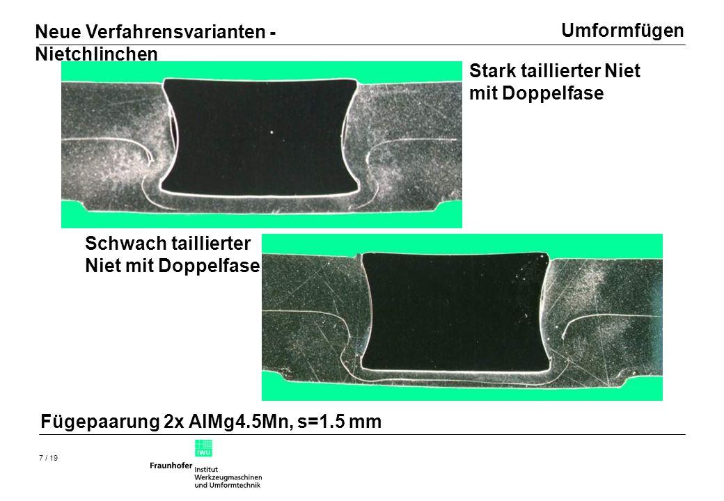 Umformfügen 8 / 19 2x AlMg4.5Mn, s=1.5 mm Neue Verfahrensvarianten - Nietchlinchen Vergleich Experiment - Rechnung