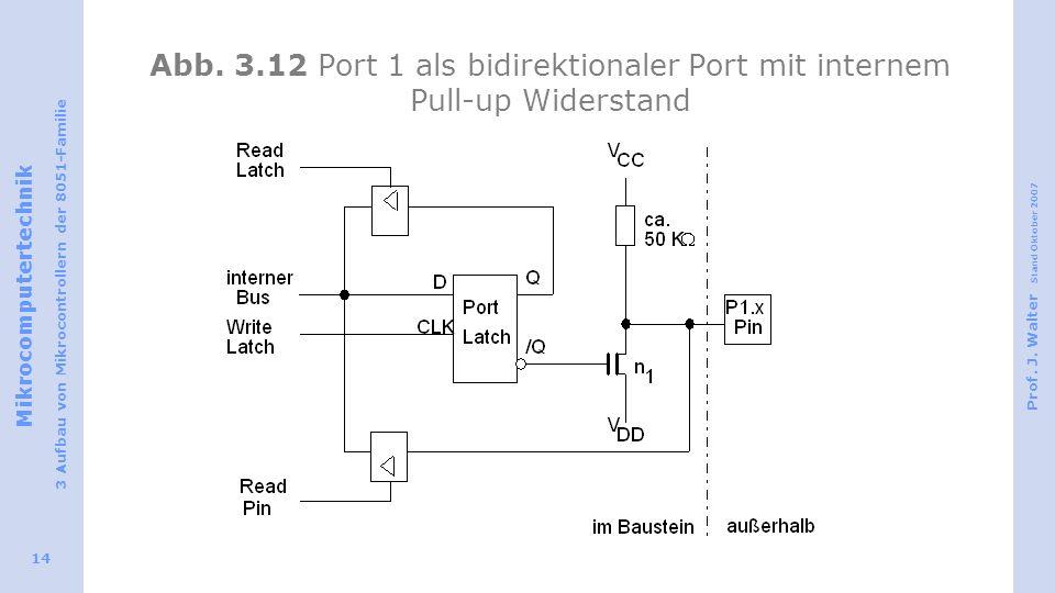 Mikrocomputertechnik 3 Aufbau von Mikrocontrollern der 8051-Familie Prof. J. Walter Stand Oktober 2007 14 Abb. 3.12 Port 1 als bidirektionaler Port mi