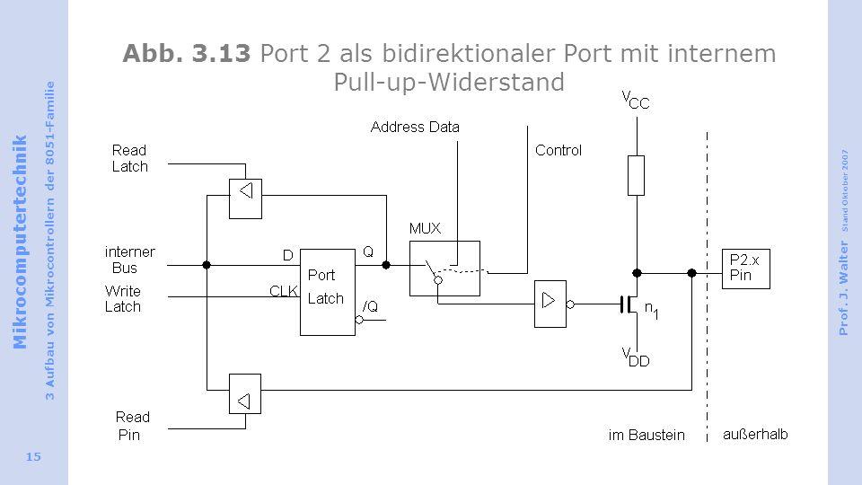 Mikrocomputertechnik 3 Aufbau von Mikrocontrollern der 8051-Familie Prof. J. Walter Stand Oktober 2007 15 Abb. 3.13 Port 2 als bidirektionaler Port mi
