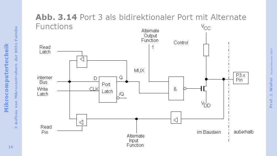 Mikrocomputertechnik 3 Aufbau von Mikrocontrollern der 8051-Familie Prof. J. Walter Stand Oktober 2007 16 Abb. 3.14 Port 3 als bidirektionaler Port mi
