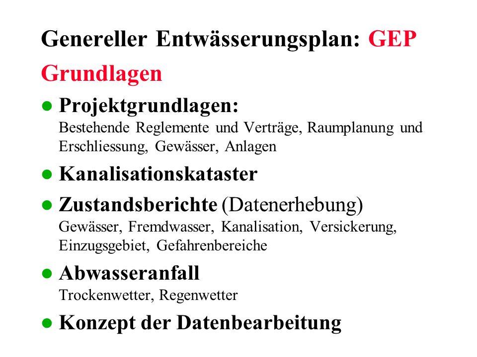 Genereller Entwässerungsplan: GEP Grundlagen l Projektgrundlagen: Bestehende Reglemente und Verträge, Raumplanung und Erschliessung, Gewässer, Anlagen