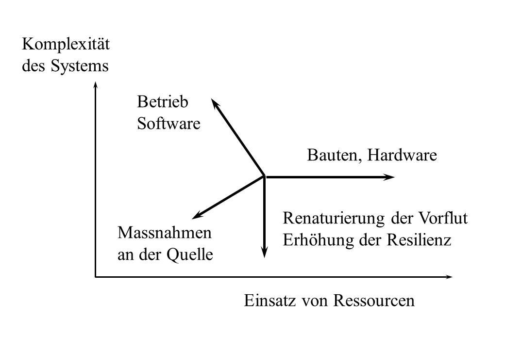 Komplexitätdes Systems Einsatz von Ressourcen Bauten, Hardware Betrieb Software Massnahmen an der Quelle Renaturierung der Vorflut Erhöhung der Resili