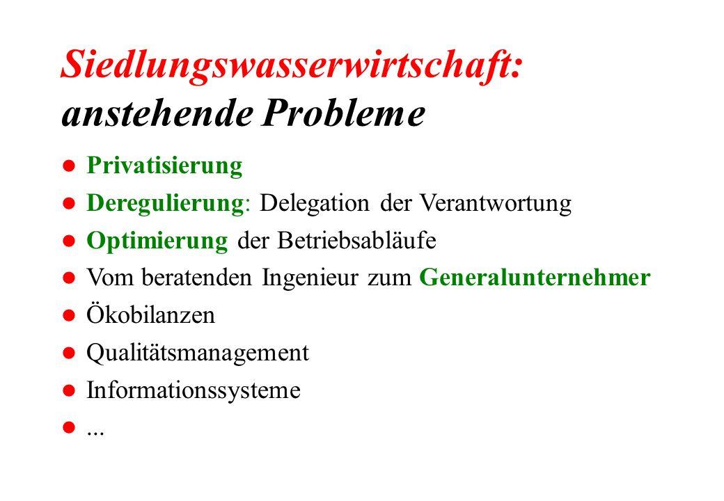 Siedlungswasserwirtschaft: anstehende Probleme l Privatisierung l Deregulierung: Delegation der Verantwortung l Optimierung der Betriebsabläufe l Vom