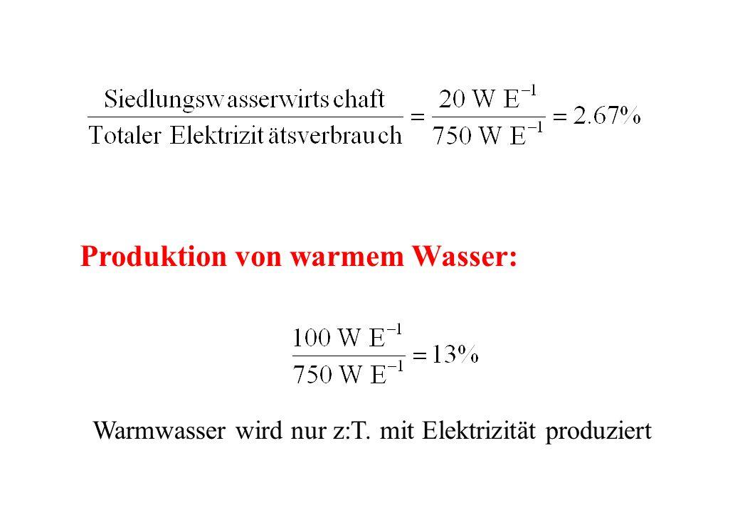 Produktion von warmem Wasser: Warmwasser wird nur z:T. mit Elektrizität produziert