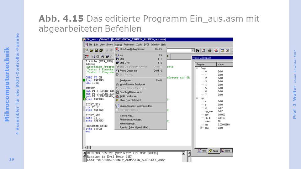 Mikrocomputertechnik 4 Assembler für die 8051-Controller-Familie Prof. J. Walter Stand November 2007 19 Abb. 4.15 Das editierte Programm Ein_aus.asm m