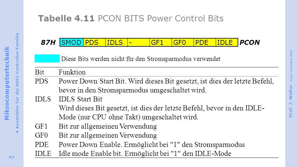 Mikrocomputertechnik 4 Assembler für die 8051-Controller-Familie Prof. J. Walter Stand November 2007 47 Tabelle 4.11 PCON BITS Power Control Bits 87HS