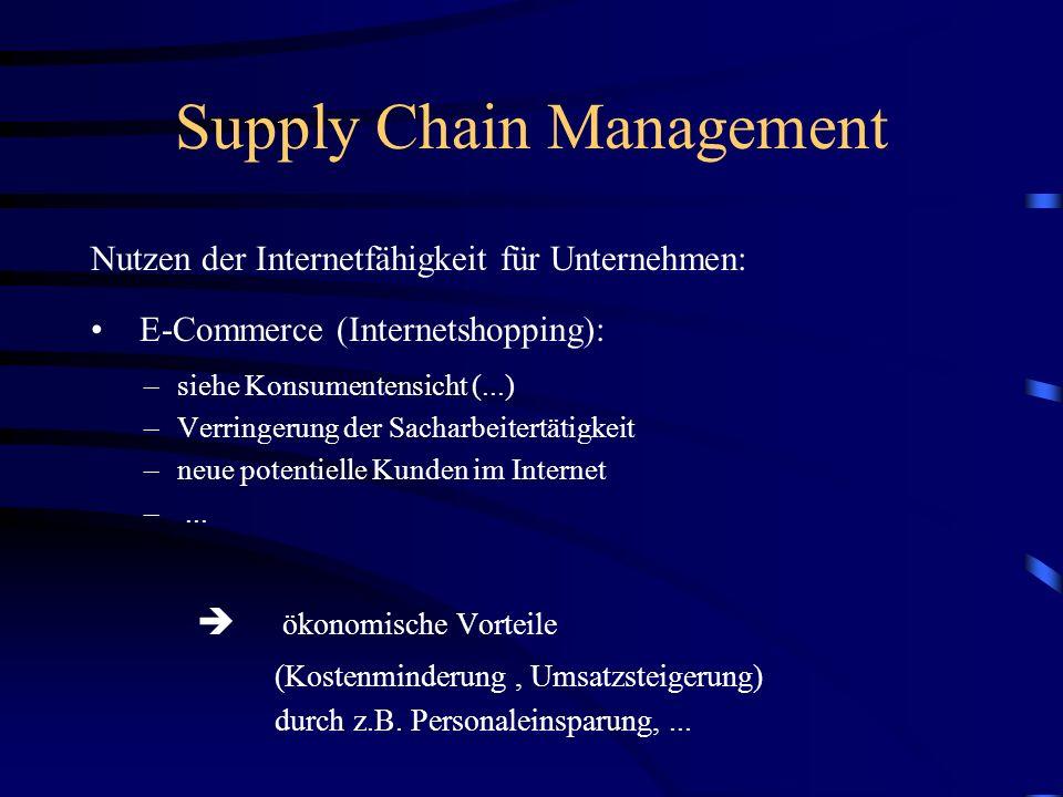 Supply Chain Management Nutzen der Internetfähigkeit für Kunde/Konsument: E-Commerce (Internetshopping): – kein Ladenschluss –Vertriebsabwicklung dire