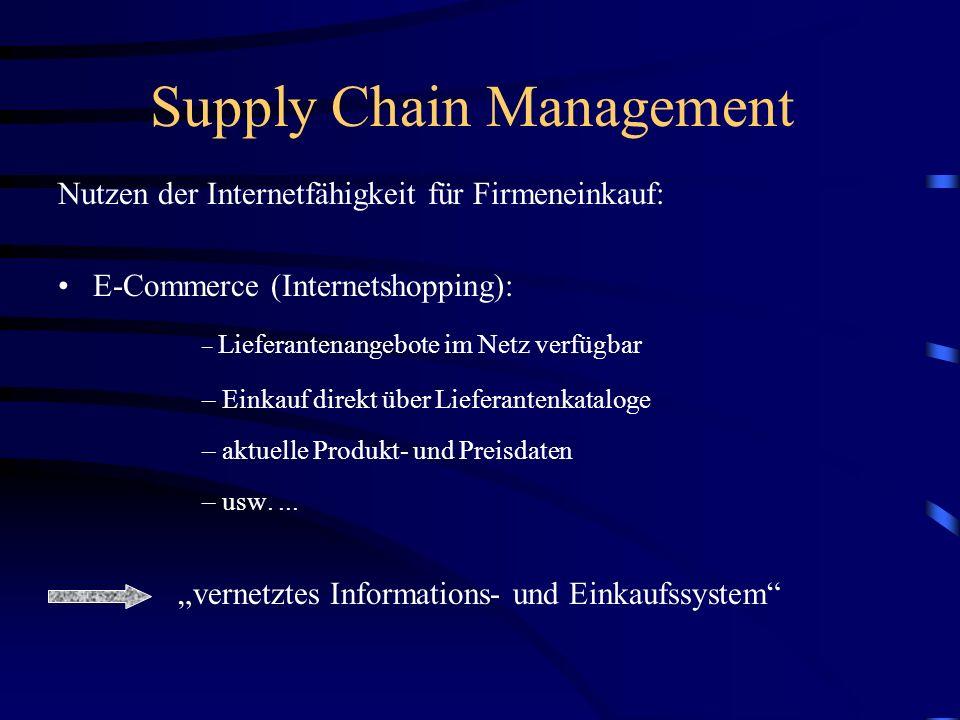 Supply Chain Management Nutzen der Internetfähigkeit für Unternehmen: E-Commerce (Internetshopping): –siehe Konsumentensicht (...) –Verringerung der S