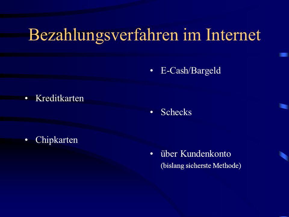 Bezahlungsverfahren für das Internet Voraussetzung der Kommerzialisierung des Internet ist ein funktionierendes und flächendeckendes Zahlungsverfahren