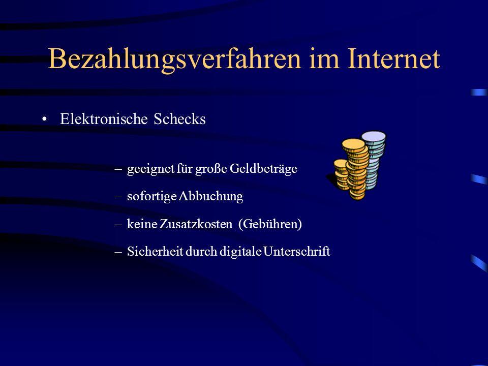 Bezahlungsverfahren im Internet Kreditkarten –SET (Secure Electronic Transaction) als Standard etabliert –3-Teilung (Kunde, Händler, Verwaltungsstelle