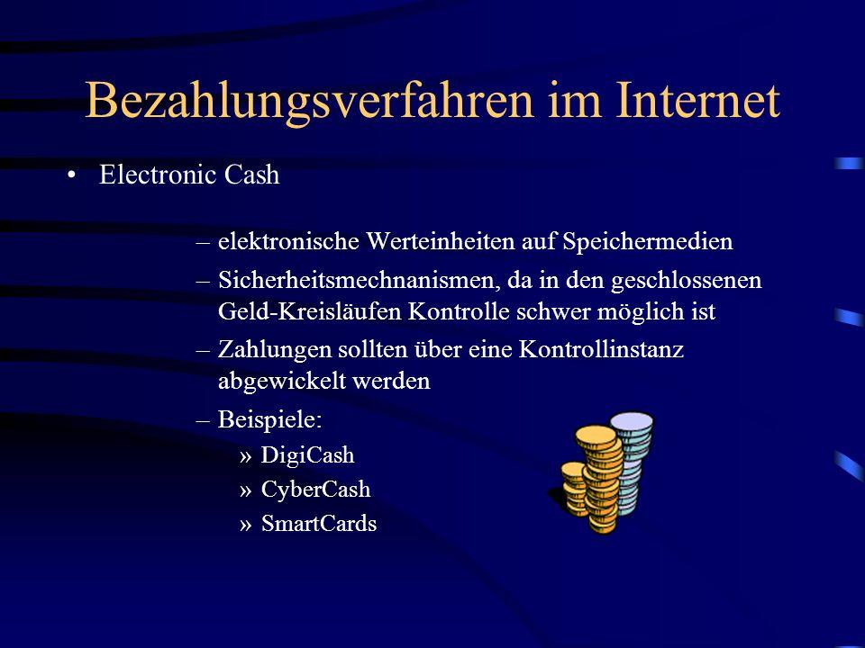 Bezahlungsverfahren im Internet Elektronische Schecks –geeignet für große Geldbeträge –sofortige Abbuchung –keine Zusatzkosten (Gebühren) –Sicherheit