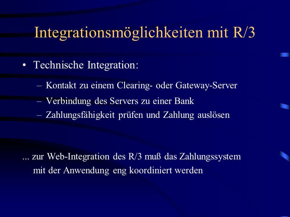 Integrationsmöglichkeiten mit R/3 Organisation/Ablauf: –Produktauswahl des Kunden – Bestandskontrolle (Lager) –Prüfung der Zahlungssicherheit des Kund