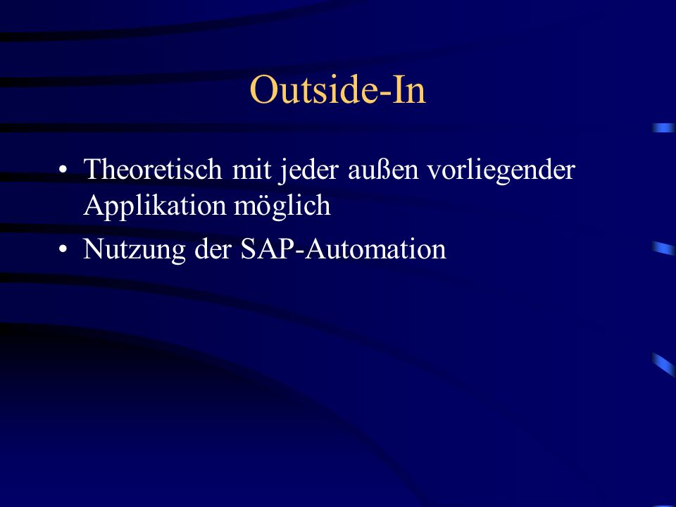 Vom Web ins R/3 und zurück SAP Internet-Strategie Die Lösung mit dem ITS 4. Wege aus dem Web ins R/3