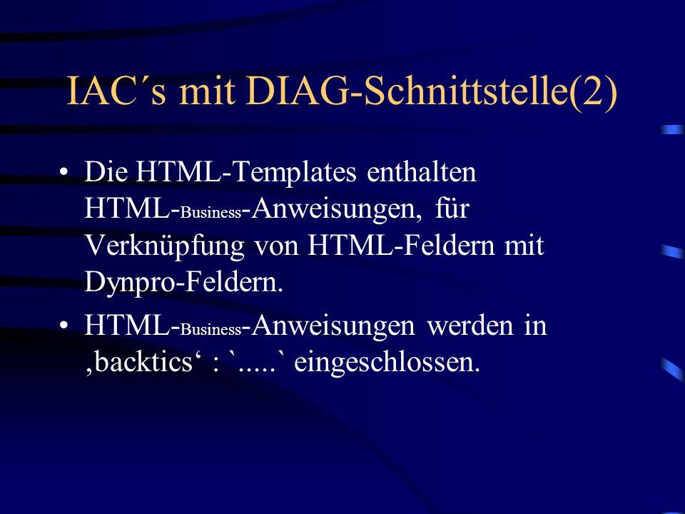 IAC´s mit DIAG-Schnittstelle(1) DIAG ist die R/3-Terminalschnittstelle zum SAPGUI. Auch IAC´s bestehen aus Dynpros zu Dynpros werden HTML-Templates ge
