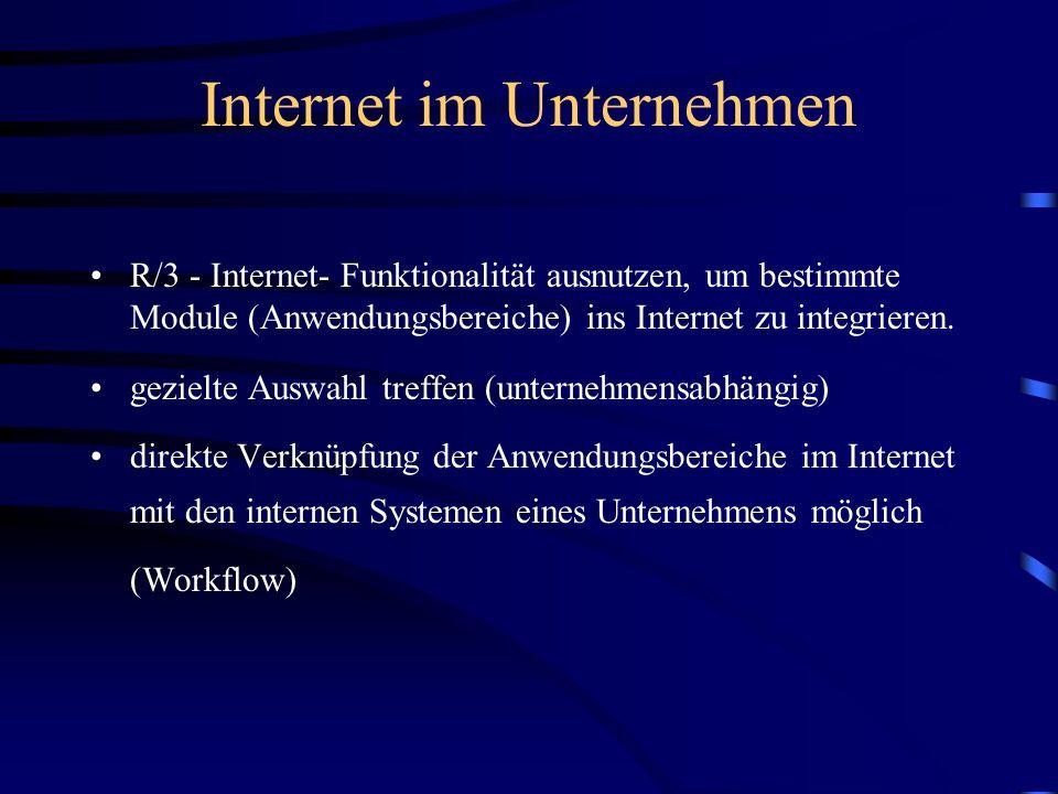 Internet im Unternehmen R/3 - Internet- Funktionalität ausnutzen, um bestimmte Module (Anwendungsbereiche) ins Internet zu integrieren.