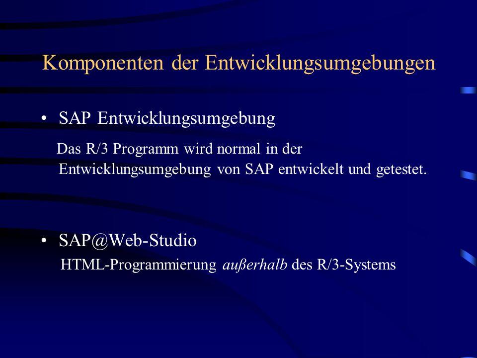 Entwicklung einer Applikation ABAP/4 Dynpro Programmierung Kontrolle HTML Template Design Kontrolle