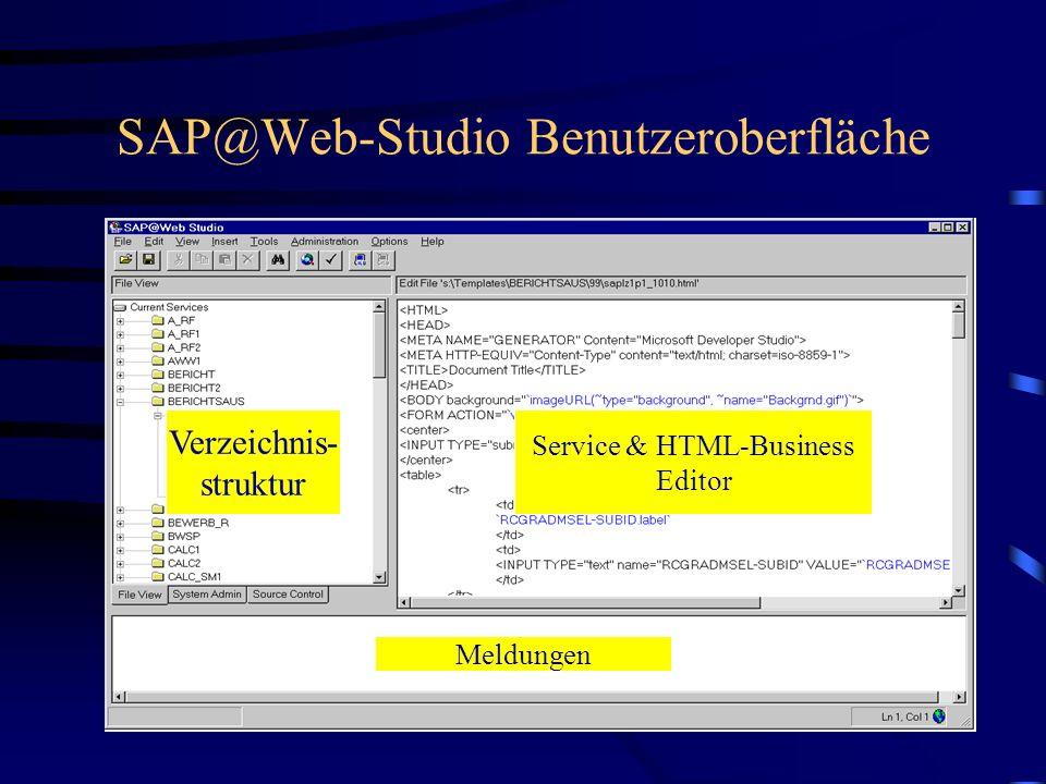 Überblick über das SAP@Web-Studio Einfache Bedienungsoberfläche zur Erstellung von ITS-Seiten und Servicen Zugriff auf sämtlich Daten - Service-Dateie