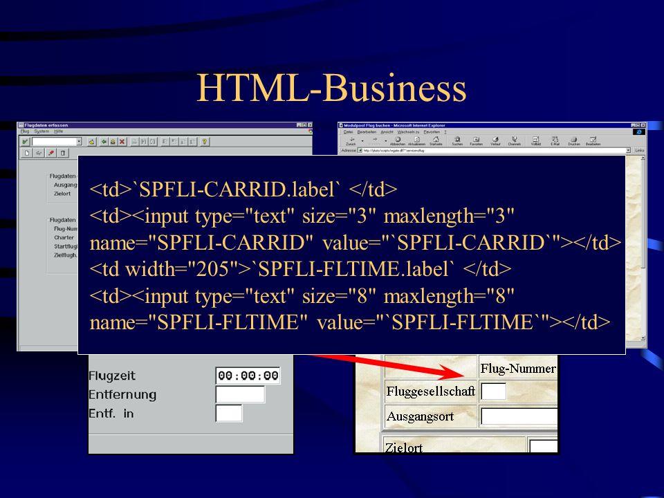 HTML-Business HTML-Business wird automatisch vom Sap@Web-Studio generiert. HTML-Business übersetzt die SAP-Programm- logik in HTML, z.B. Steploops HTM