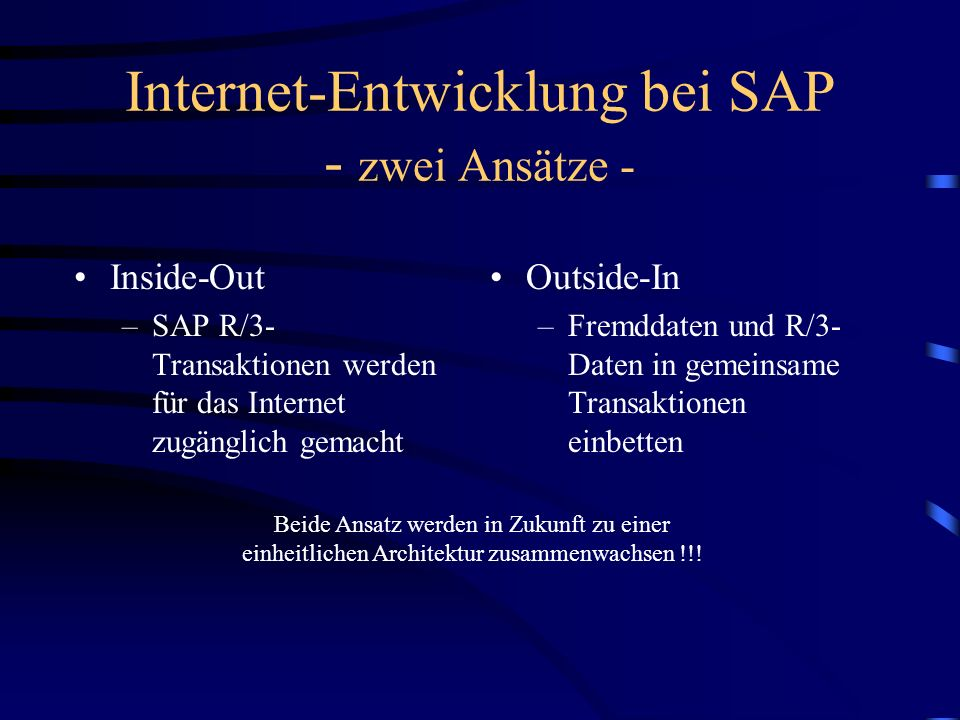 Internet-Entwicklung bei SAP - zwei Ansätze - Inside-Out –SAP R/3- Transaktionen werden für das Internet zugänglich gemacht Outside-In –Fremddaten und R/3- Daten in gemeinsame Transaktionen einbetten Beide Ansatz werden in Zukunft zu einer einheitlichen Architektur zusammenwachsen !!!