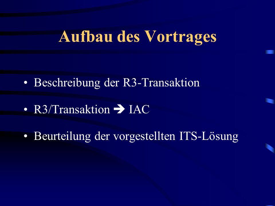 Entwicklung einer Internet Application Component (IAC) aus einer bestehenden R3-Transaktion mit dem Internet Transaction Server (ITS)