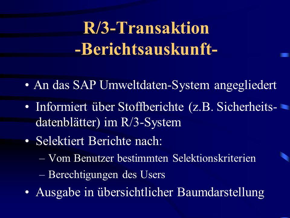 Aufbau des Vortrages Beschreibung der R3-Transaktion R3/Transaktion IAC Beurteilung der vorgestellten ITS-Lösung