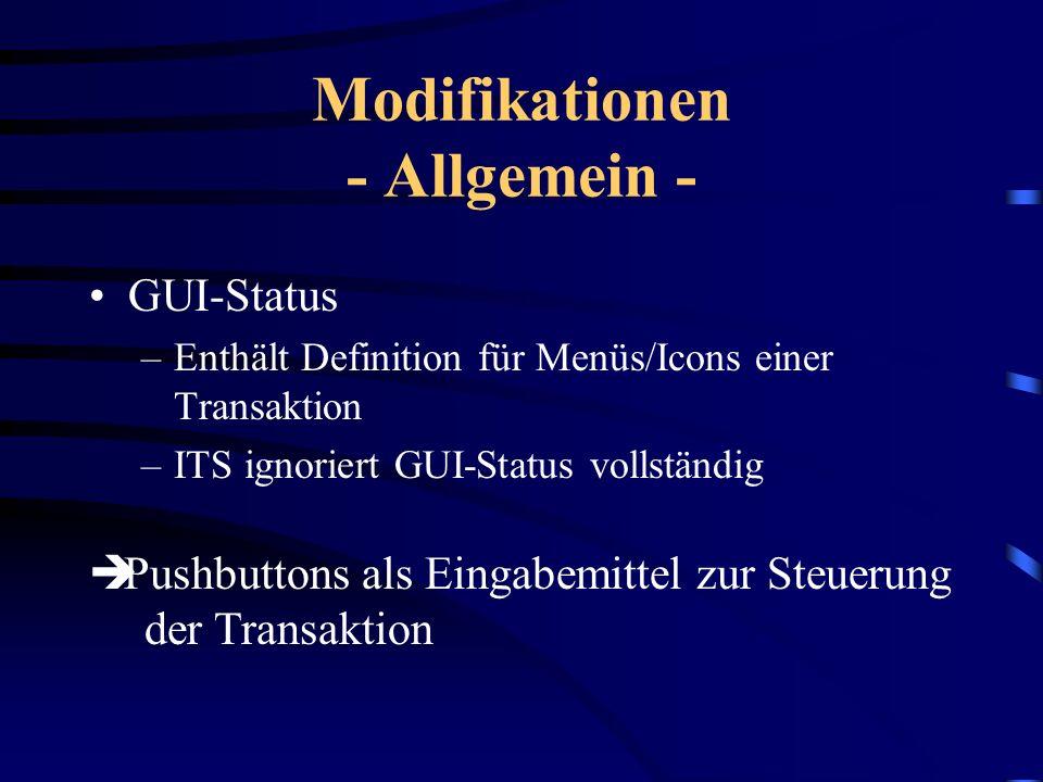Modifikationen - Allgemein - Popups –R/3: Ausgabe v. Fehlermeldungen, Bestätigungen,... –Im HTML-Standard noch nicht unterstützt –ITS generiert ledigl