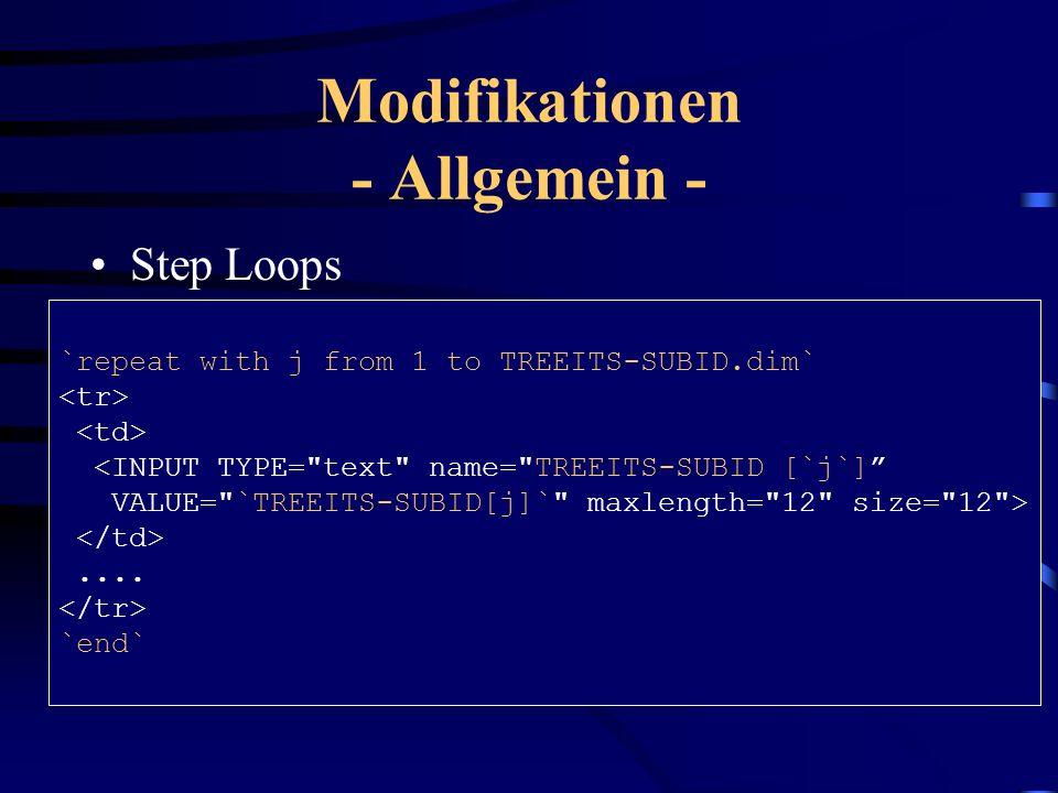 Modifikationen - Allgemein - GUI-Status –Enthält Definition für Menüs/Icons einer Transaktion –ITS ignoriert GUI-Status vollständig Pushbuttons als Ei