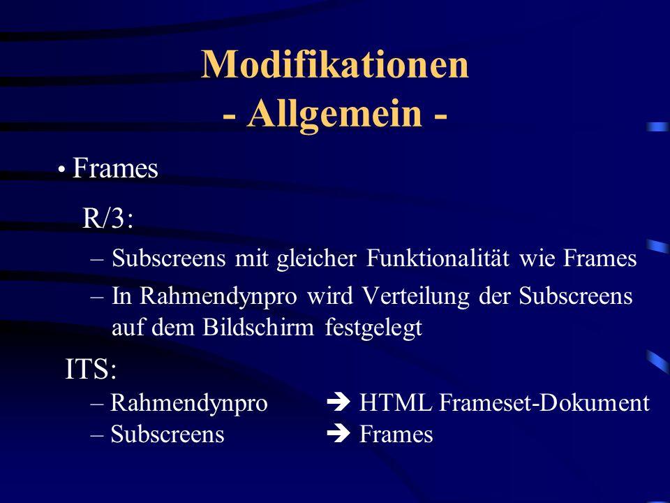Modifikationen - Allgemein - F1-Hilfe R/3: Semantische Hilfe zu Dynprofeldern WWW:Statische HTML-Hilfedokumente F4-Hilfe R/3:Hilfe zu möglichen Eingab