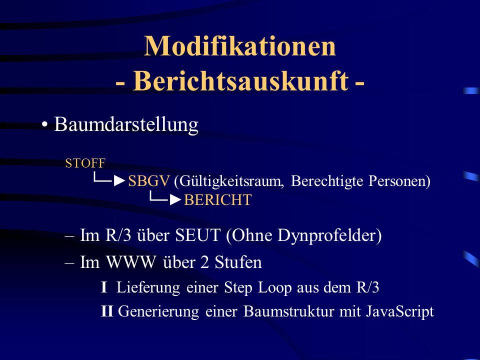 Modifikationen - Berichtsauskunft - Selektionsbildschirm –Zweck: Eingabe der Selektionskriterien –Aufbau: Selektionskriterien in Subscreens (ITS Frame