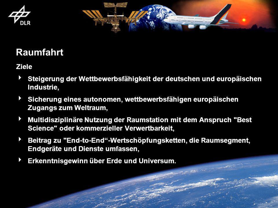 Raumfahrt Ziele Steigerung der Wettbewerbsfähigkeit der deutschen und europäischen Industrie, Sicherung eines autonomen, wettbewerbsfähigen europäischen Zugangs zum Weltraum, Multidisziplinäre Nutzung der Raumstation mit dem Anspruch Best Science oder kommerzieller Verwertbarkeit, Beitrag zu End-to-End-Wertschöpfungsketten, die Raumsegment, Endgeräte und Dienste umfassen, Erkenntnisgewinn über Erde und Universum.