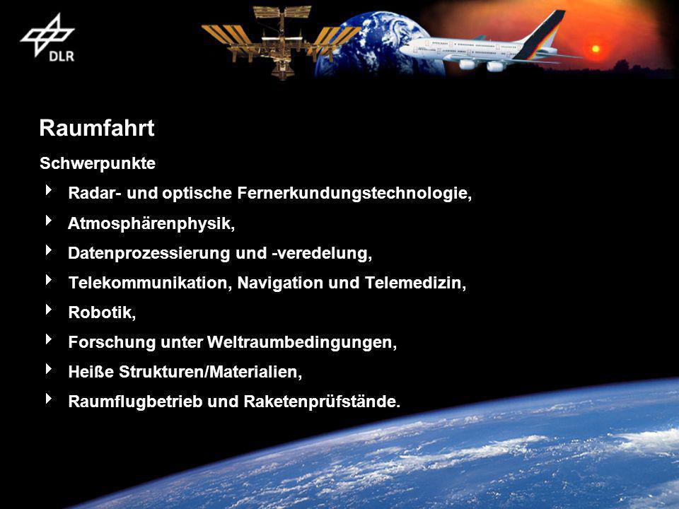 Raumfahrt Schwerpunkte Radar- und optische Fernerkundungstechnologie, Atmosphärenphysik, Datenprozessierung und -veredelung, Telekommunikation, Naviga