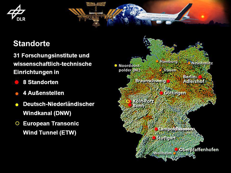 Standorte 31 Forschungsinstitute und wissenschaftlich-technische Einrichtungen in 8 Standorten 4 Außenstellen Deutsch-Niederländischer Windkanal (DNW) European Transonic Wind Tunnel (ETW)