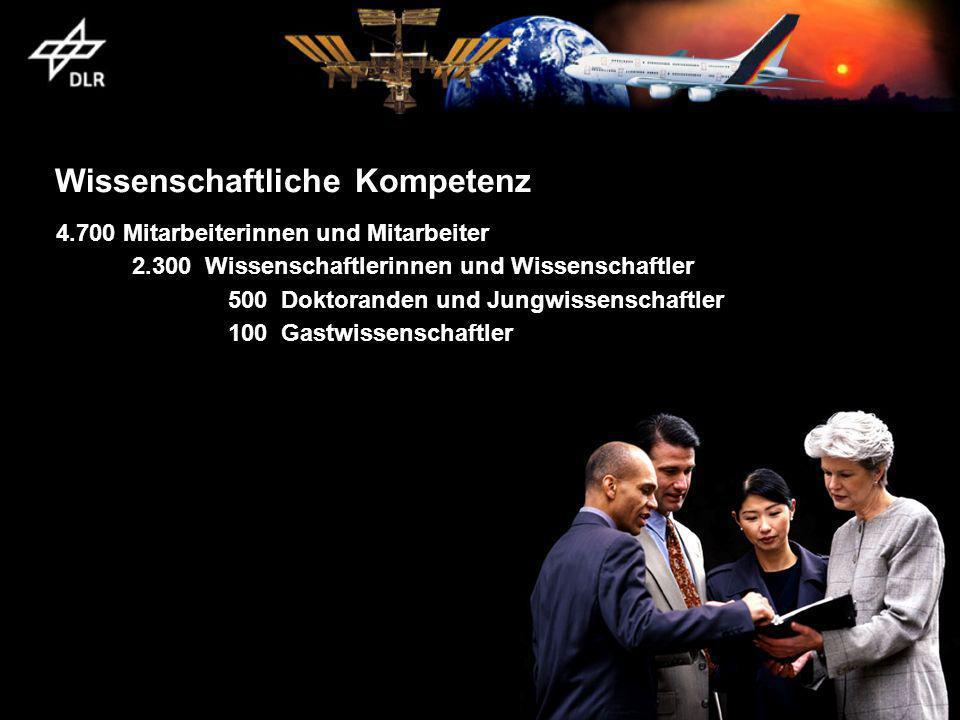 Wissenschaftliche Kompetenz 4.700 Mitarbeiterinnen und Mitarbeiter 2.300 Wissenschaftlerinnen und Wissenschaftler 500 Doktoranden und Jungwissenschaftler 100 Gastwissenschaftler