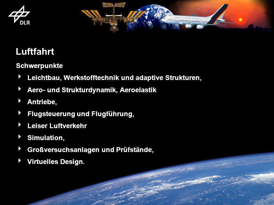 Luftfahrt Schwerpunkte Leichtbau, Werkstofftechnik und adaptive Strukturen, Aero- und Strukturdynamik, Aeroelastik Antriebe, Flugsteuerung und Flugfüh
