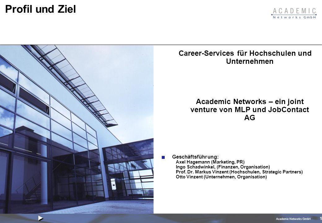 Academic Networks GmbH 1 Profil und Ziel Career-Services für Hochschulen und Unternehmen Academic Networks – ein joint venture von MLP und JobContact AG Geschäftsführung: Axel Hagemann (Marketing, PR) Ingo Schadwinkel, (Finanzen, Organisation) Prof.