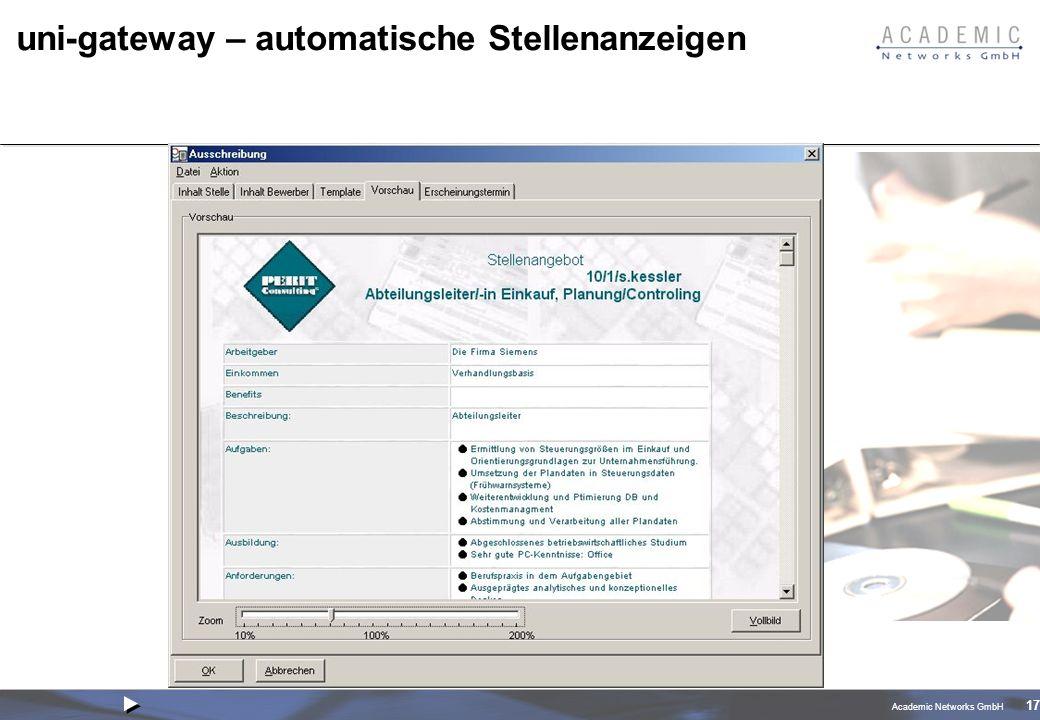 Academic Networks GmbH 17 uni-gateway – automatische Stellenanzeigen