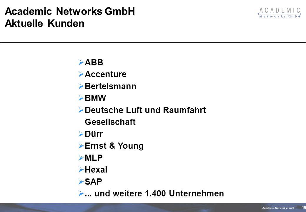 Academic Networks GmbH 19 Academic Networks GmbH Aktuelle Kunden ABB Accenture Bertelsmann BMW Deutsche Luft und Raumfahrt Gesellschaft Dürr Ernst & Young MLP Hexal SAP...