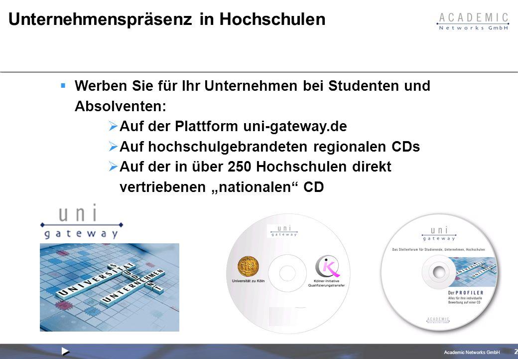 Academic Networks GmbH 2 Unternehmenspräsenz in Hochschulen Werben Sie für Ihr Unternehmen bei Studenten und Absolventen: Auf der Plattform uni-gateway.de Auf hochschulgebrandeten regionalen CDs Auf der in über 250 Hochschulen direkt vertriebenen nationalen CD