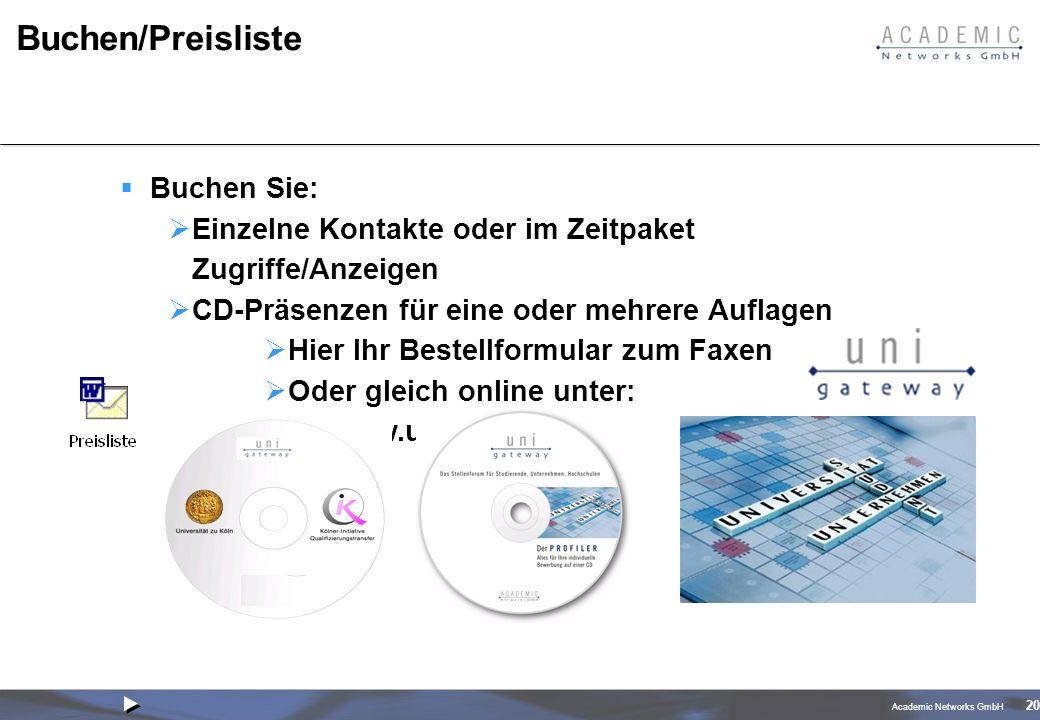 Academic Networks GmbH 20 Buchen/Preisliste Buchen Sie: Einzelne Kontakte oder im Zeitpaket Zugriffe/Anzeigen CD-Präsenzen für eine oder mehrere Auflagen Hier Ihr Bestellformular zum Faxen Oder gleich online unter: www.uni-gateway.de