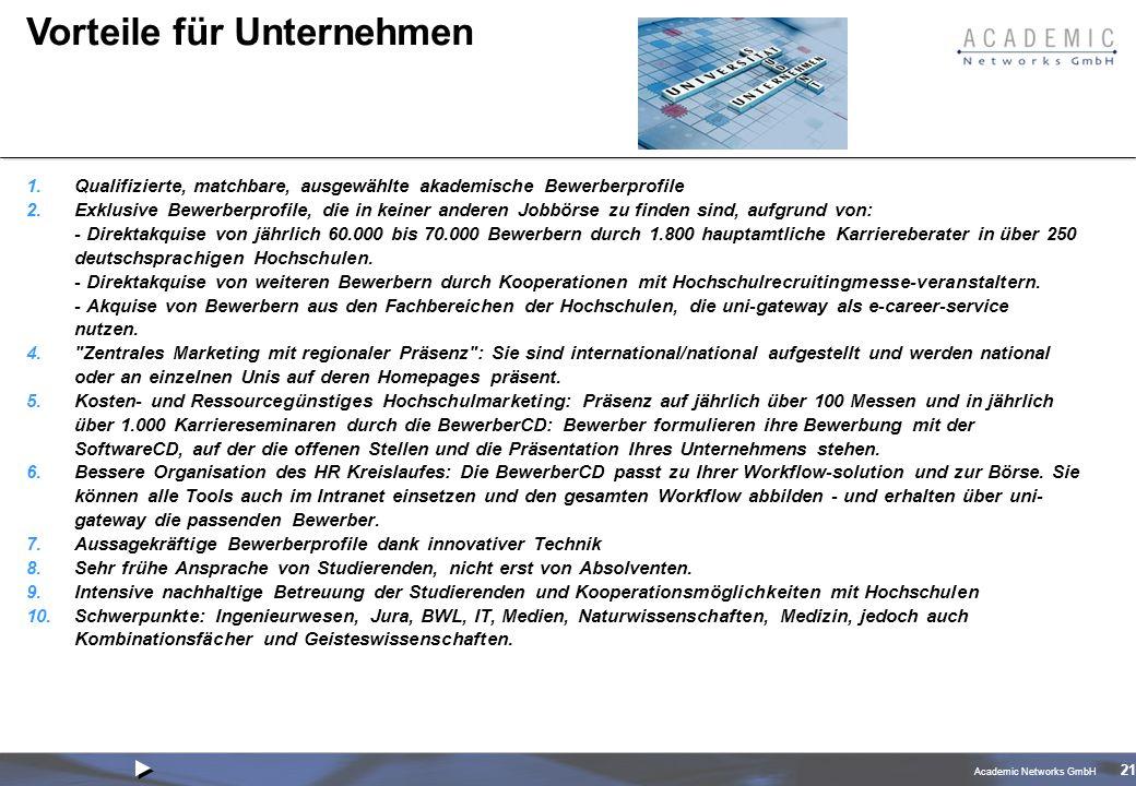 Academic Networks GmbH 21 Vorteile für Unternehmen 1.Qualifizierte, matchbare, ausgewählte akademische Bewerberprofile 2.Exklusive Bewerberprofile, die in keiner anderen Jobbörse zu finden sind, aufgrund von: - Direktakquise von jährlich 60.000 bis 70.000 Bewerbern durch 1.800 hauptamtliche Karriereberater in über 250 deutschsprachigen Hochschulen.
