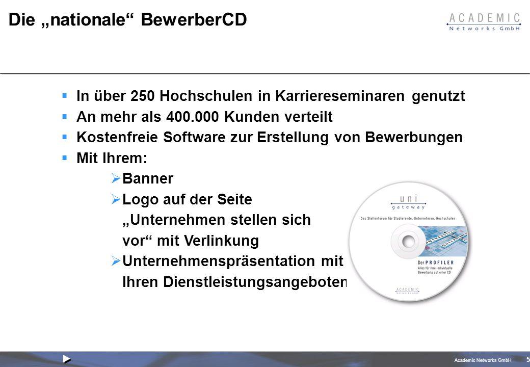 Academic Networks GmbH 5 Die nationale BewerberCD In über 250 Hochschulen in Karriereseminaren genutzt An mehr als 400.000 Kunden verteilt Kostenfreie Software zur Erstellung von Bewerbungen Mit Ihrem: Banner Logo auf der Seite Unternehmen stellen sich vor mit Verlinkung Unternehmenspräsentation mit Ihren Dienstleistungsangeboten