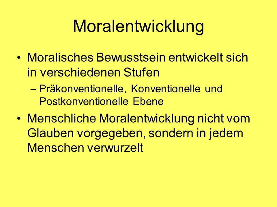 Moralentwicklung Moralisches Bewusstsein entwickelt sich in verschiedenen Stufen –Präkonventionelle, Konventionelle und Postkonventionelle Ebene Mensc