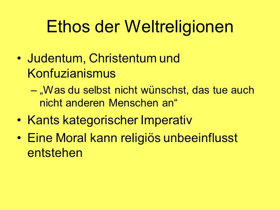 Ethos der Weltreligionen Judentum, Christentum und Konfuzianismus –Was du selbst nicht wünschst, das tue auch nicht anderen Menschen an Kants kategori